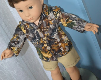 18 Inch Boy Doll Clothes Two Piece Outfit Khaki Shorts and Flannel Camouflage Shirt by SEWSWEETDAISY