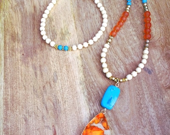 Orange Jasper Turquoise Necklace