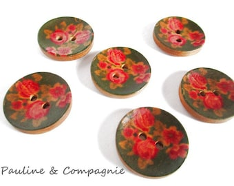 8 fancy liberty floral wooden buttons