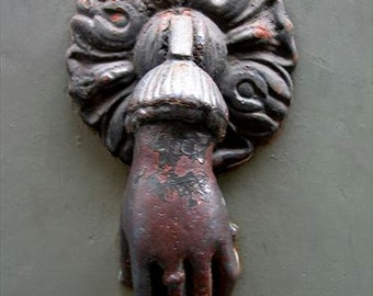 ITALY PHOTO, Rusty hand door knocker Print,  Digital photo print, Art print, Wall print, Bergamo Door knocker photo, Grey door photo
