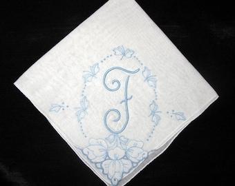 Something Blue, Vintage Handkerchiefs, Antique Wedding Hankie, Embroidered F R P M H E N S G or L