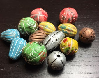 Lot of Assorted Handmade Clay Beads ... 13 ct.