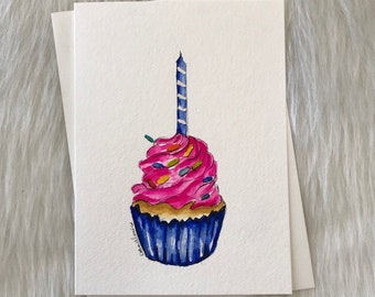 Cupcake Birthday Celebration Greeting Card Art Original Painting Artist Debra Alouise Blank Party Stationery Fake Food Candle Pink Blue