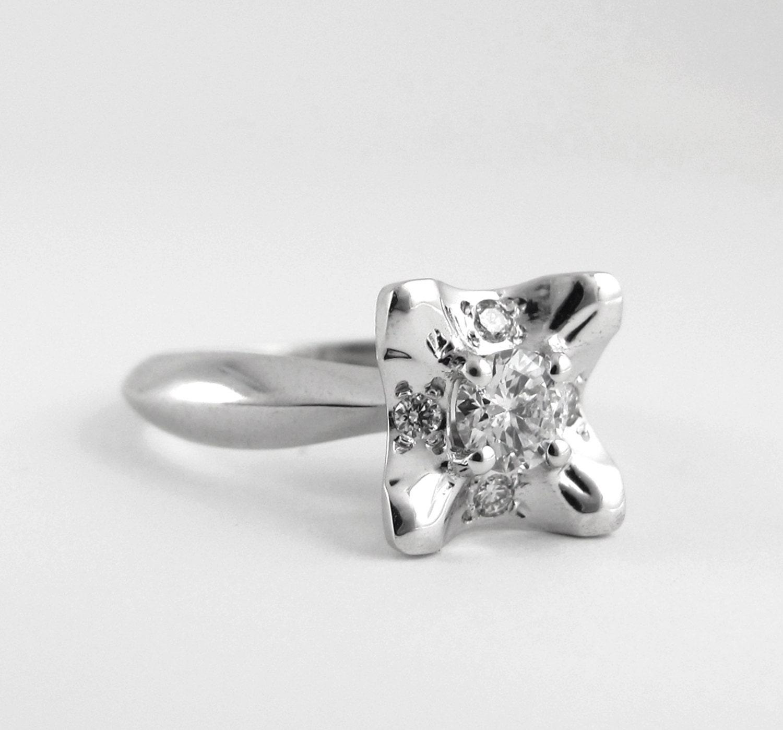 Flower Ring Vintage Inspired White Gold Art Deco Cluster