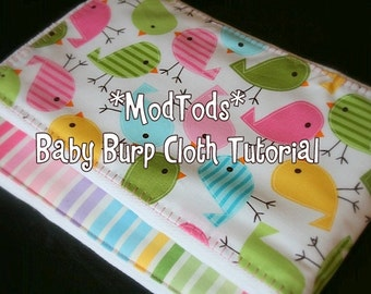 TUTORIAL Baby Burp Cloth PDF Pattern Tutorial Quality Boutique Style Fabric or Ribbon Burp Cloths. Instant Download.