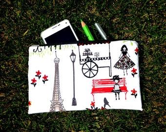 Paris Cosmetic Bag, zippered Paris pouch, France Paris make up bag, travel bag, gift woman, gift for girl, toiletry bag, Paris zipper bag