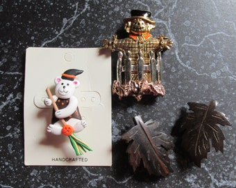 Halloween PIns/Brooches Fall Leaves, Teddy Bear, and Scarecrow Autumn Jewelry