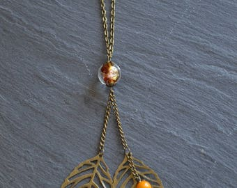 ° Necklace leaves ° 2 Golden glass bead