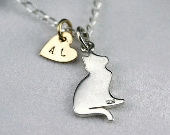 Cat necklace, personnalized cat necklace, cat lover, kitty necklace, cat jewelry, kitty jewelry, kitten, animal jewelry, pet necklace