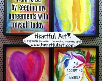 4 Worthy Accepting Self Love Support MAGNETS Inspirational Motivational Recovery Sobriety Eating Disorder Heartful Art by Raphaella Vaisseau