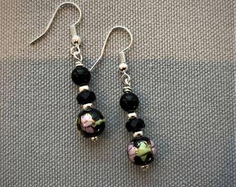 Black Czech Glass and Ceramic Bead Earrings