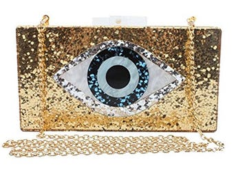 GOLD Glitter Evil Eye Clutch Personalized with Monogram | Name | Hashtag | Custom
