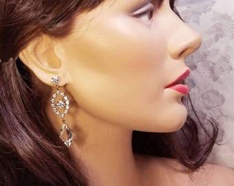 Rhinestone Earrings ~ Art Deco Earrings ~ Vintage Jewelry ~ Dangle Earrings ~ Downton Abbey Earrings ~ Antiqued Goldtone  ~  FREE SHIPPING