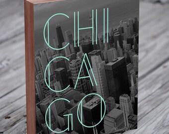 Chicago Skyline Art - Handmade Wood Block by LuciusArt
