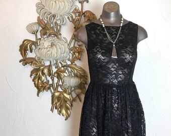 Vintage dress lace dress sheer dress size small mini dress see through dress 32 bust black dress sleeveless dress gothic dress 26 waist
