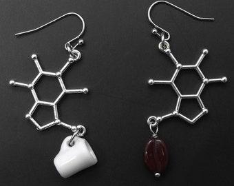 Caffeine Molecule Coffee Earrings Chemistry Biology Science Jewelry Graduation Gift