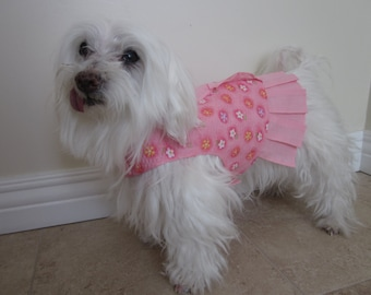 Pet clothes - Pink Floral Sundress with pleats and ruffles