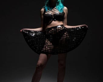 Crosshatch Mesh Latex Short Circle Skirt in Black or ANY Colour