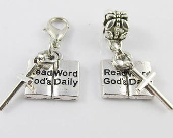 Read God's Word Daily Cross Charm Select European Charm or Clip on Charm