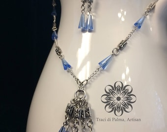 Blue Glass Glamour Necklace and Earrings