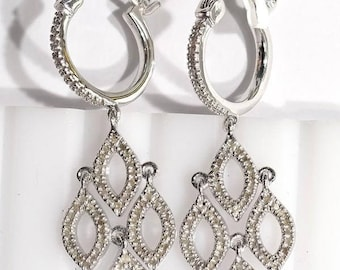 Sterling Silver 154 Diamond (0.75ct) Drop Earrings. See in picture 3: Retail Value as per shown Appraisal Certificate = 700 dollars.