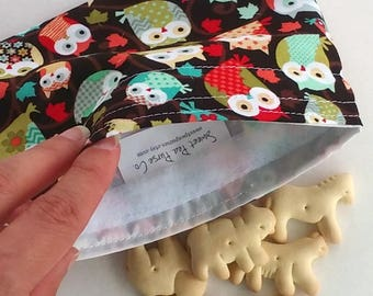 Reusable Snack bags, Sandwich bags for School or work lunch, wise owls, Zero waste lunch, fun for kids
