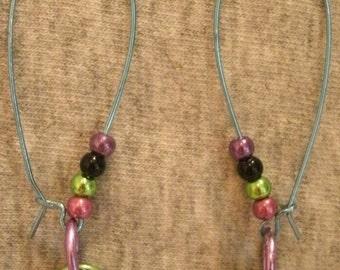 Multi Color Blue Pink Green Black Purple Bead Metallic Bead Pierced Earrings Blue Ear Wires