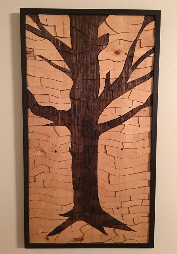 Baum-Kunstwerk Holz-Wand-Kunst Kunstwerk moderne Kunst