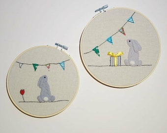 Hand embroidered and felted wooden hoop wall hangings