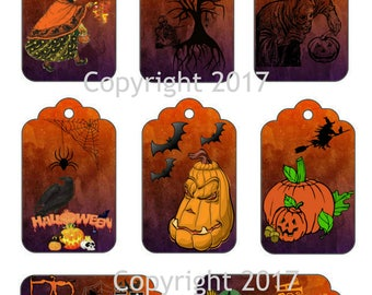 8 Halloween Gift Tags, Labels Instant Digital Download JPG and PDF