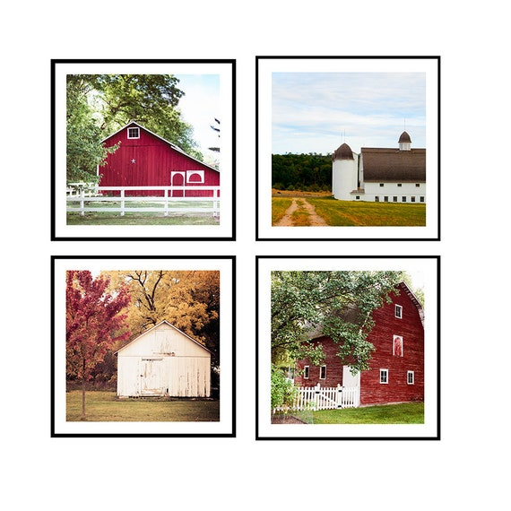 Set of Four Barn Images, Red barns, White Barns, Summer Images, Autumn Color Prints, Rural Scenes, Country Barn Prints