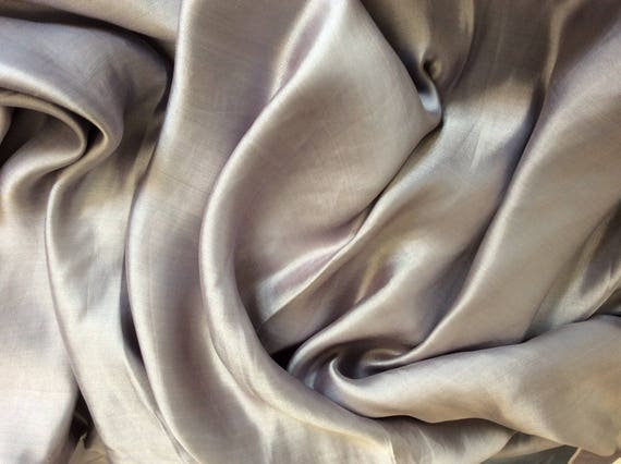Genuine silver grey silk sateen