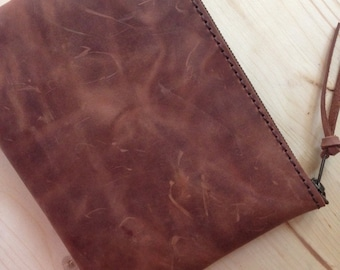 Premium Italian Leather !! Brown Medium Clutch, Leather purse, ipad mini.10
