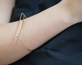Gold bracelets for women, gold fill geometric bracelet, gold plated bangle bracelet, rectangle bracelet, silver minimal bangles, thin bangle