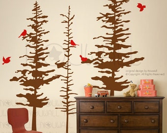 Art Wall Decals Wall Stickers - Pine Trees Decal - pine cone tree wall decal & Art Wall Decals Wall Stickers Winter Trees decal Modern