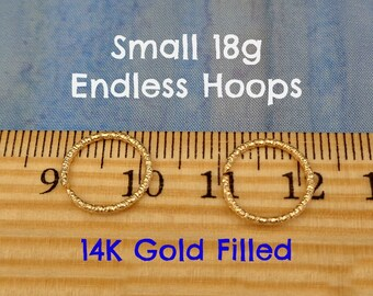Small 18g Faceted Gold Filled Endless Hoops