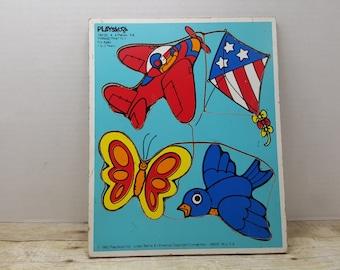Playskool puzzle, 1982, vintage playskool, board puzzle, wood, mdf, vintage toy, things that fly