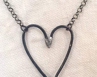 Rustic Artisan Heart Necklace