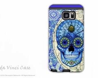 Steampunk Skull Case for Samsung Galaxy Note 5 - Premium Dual Layer Galaxy Note Case - Astrologiskull - Blue Skull Case by Da Vinci Case