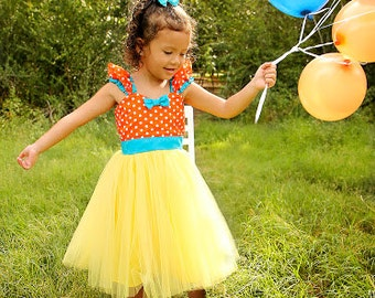 Orange polka dot dresswith yellow and turquoise Tutu Party Dress for  girls party dress portrait  or special occasion