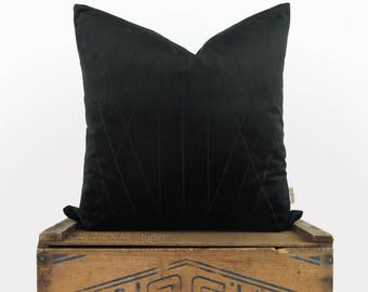 Black Velvet Pillow Cover | 18x18 Graphic and Geometric decorative pillow case, cushion cover | Modern home decor | Solid or with pattern