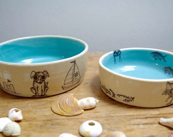 Small Dog and Cat Bowls // Beach and Fish