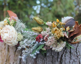 custom bridal crown, rust orange bridal crown, dark neutral flower crown, magnolia crown, amber flower crown, mustard flower crown, zinnia