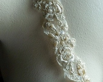 Champagne Gold Beaded Lace Trim  for Bridal, Veils,  Costume Design BL 4040