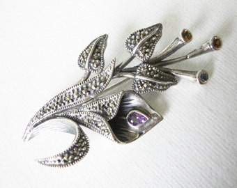 Vintage Sterling Silver Floral Marcasite Brooch Set With Glass Stones