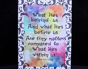 Watercolor tie dye card with inspiring quote