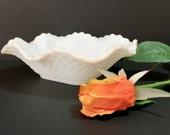 White Milk Glass - Square Candy Dish - Wedding Decor - Bridal Shower Decor - Milk Glass Bowl - Vintage Flower Vases - Milk Glass Candy Dish