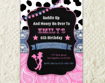 Cowgirl Birthday Invitation, Printable Cowgirl Birthday Invitation, Cowgirl Party Invite, Pink Black Cowgirl Invitation, Wild West Party