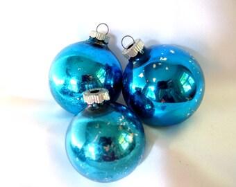 3 Vintage Shiny Brite Christmas Ornaments - Blue Christmas Ornaments
