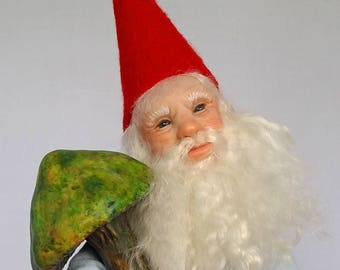 """OOAK """"Garden Gnome"""" with mushrooms and watering can, by Lori Platt, The Pixie Knoll"""